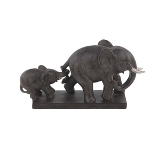 The Curated Nomad Merced Rustic Polystone Mother and Calf Elephants Sculpture