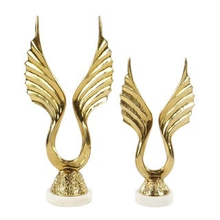 Set of 2 Modern Aluminum and Marble Gold-Plated Wing Figurines
