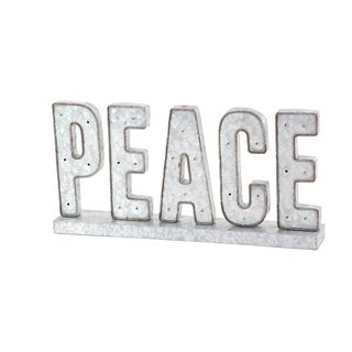 Modern Metal Peace Led Tabletop Sign