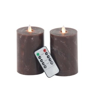 Clay Alder Home Mendota Set of 2 Modern Cylindrical Brown Led Flicker Candles