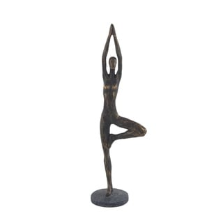 The Curated Nomad Merced Rustic Polystone Woman in Tree Yoga Pose Sculpture