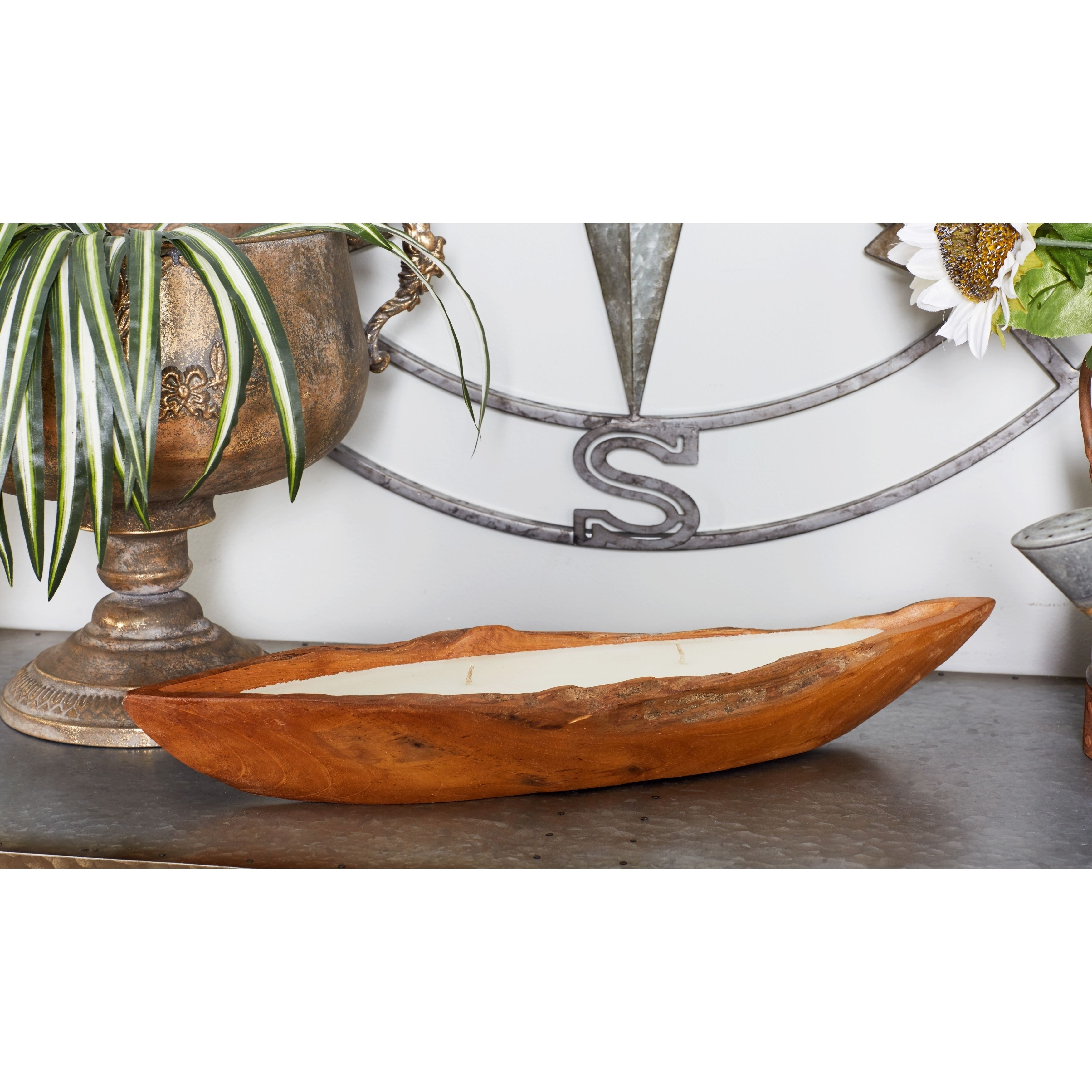 Strick & Bolton Tatum Rustic Teak Wood Candle Boat