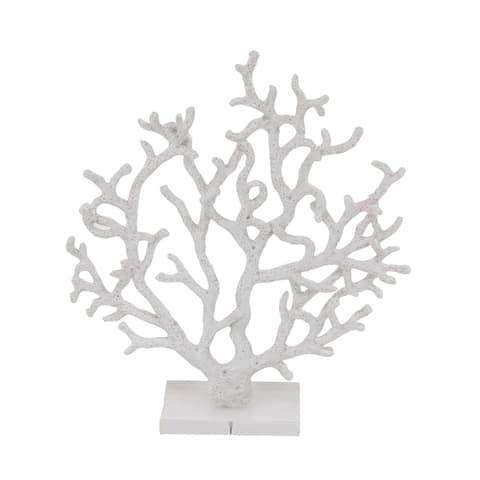 Porch & Den Mola Coastal Polystone White Branched Coral Sculpture