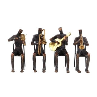 Set of 4 Traditional Resin and Metal Musician Sculptures