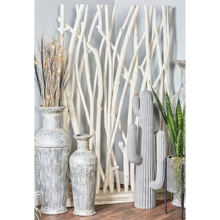 Traditional 69 x 40 Inch Teak White Driftwood Screen by Studio 350