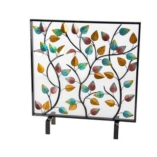The Gray Barn Jartop Natural Iron Leaves and Branches Standing Fire Screen