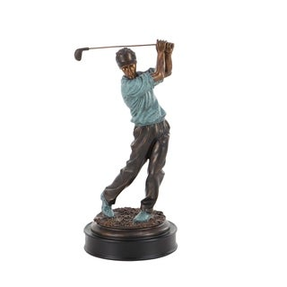 Copper Grove Chatfield Modern Ceramic Swinging Golf Player Sculpture