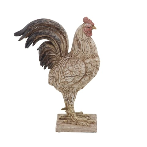 The Gray Barn Jartop Rustic Polystone Detailed Rooster Sculpture
