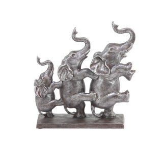 The Curated Nomad Merced Rustic Polystone Elephants in a Conga Line