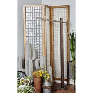 71 X 55 inch Traditional Pine Wood and Capiz 3-Section Panel Screen