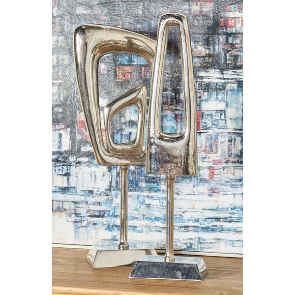 Set of 2 Modern Aluminum Silver Abstract 20 and 21 inch Sculptures