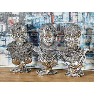 Set of 3 Modern Polystone Silver African Lady Busts