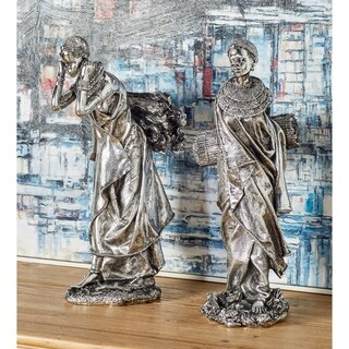 Set of 2 Eclectic Silver Trading African Lady Sculptures by Studio 350