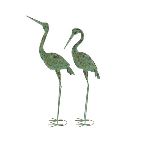 Pair of Rustic Iron Standing Garden Crane Sculptures