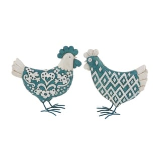 The Gray Barn Jartop Rustic Polystone White and Teal Chicken Sculptures (Set of 2)