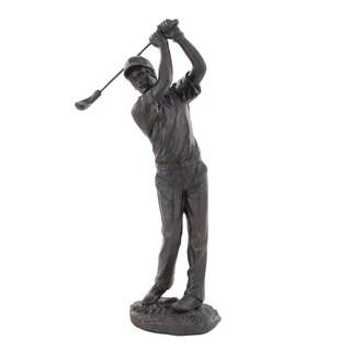 Contemporary Polystone Swinging Golfer Sculpture