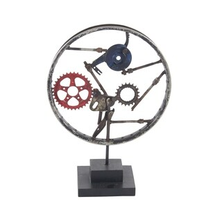 Industrial Iron and Wood Decorative Gear Sculpture