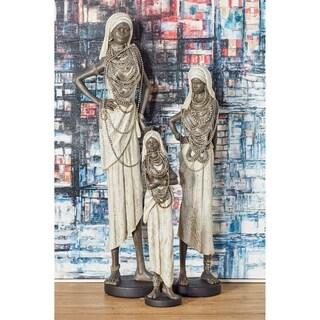 Set of 3 Rustic Polystone Standing Tribal Women Sculptures