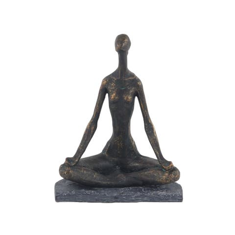 The Curated Nomad Merced Rustic Polystone Brass Meditating Woman Statue