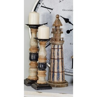 Set of 2 Coastal-Inspired Stained Wood Blue Lighthouse Sculptures