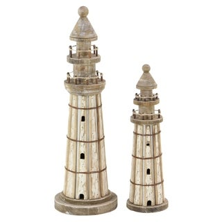 Set of 2 Coastal-Inspired Stained Wood Brown Lighthouse Sculptures