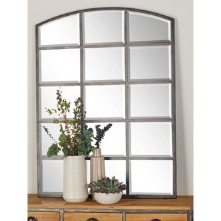 48 X 36 inch Modern Wood and Iron Paneled Glass Wall Mirror - Grey