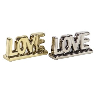 Set of 2 Modern Porcelain Love Table Signs