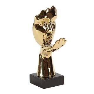 Clay Alder Home Hernando Modern Ceramic Gold-Finished Blowing Kiss Gesture Sculpture