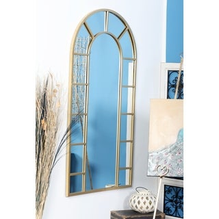 Contemporary Wood and Iron Arched Gold Wall Mirror