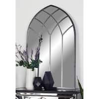 Modern Gray Iron-Framed Arched Window Wall Mirror - Silver/Grey