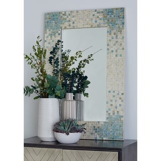 Modern Rectangular Wood-Framed Wall Mirror with Shell Inlay - Multi