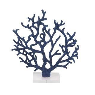Havenside Home Buckroe Coastal Polystone Blue Branched Coral Sculpture