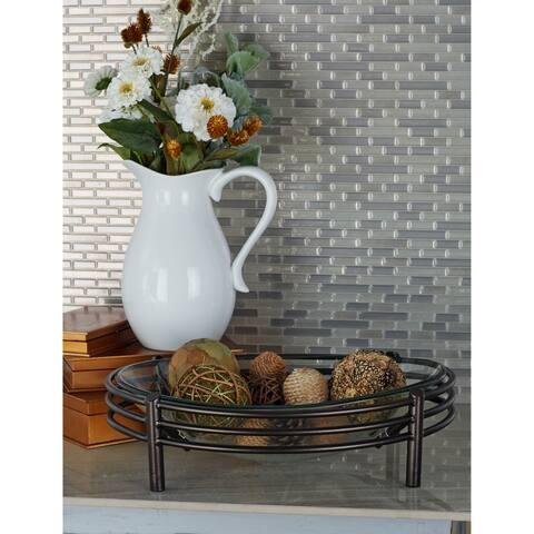 Modern 6 x 19 Inch Iron and Glass Round Decorative Bowl by Studio 350