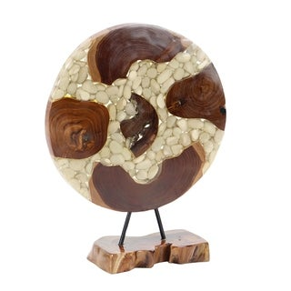 Contemporary Wood and Resin Round Stone Sculpture
