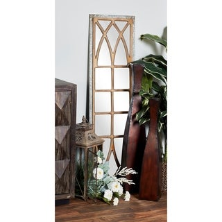 Rustic 52 x 15 Inch Window-Inspired Wall Mirror Decor from Studio 350 - Brown/Grey