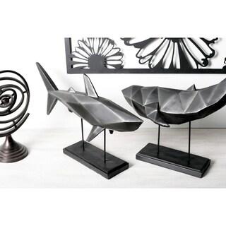 Coastal Iron and Resin Faceted Imitative Shark Sculpture