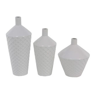 Strick & Bolton Dinah 3-piece Contemporary Porcelain Tapered Cylindrical Vase Set