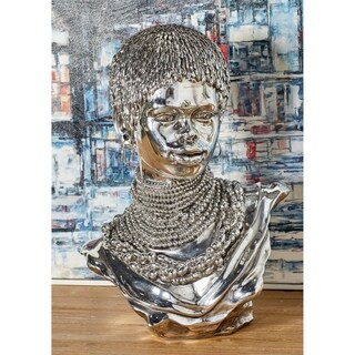 Modern Polystone Silver-Finished African Lady Bust