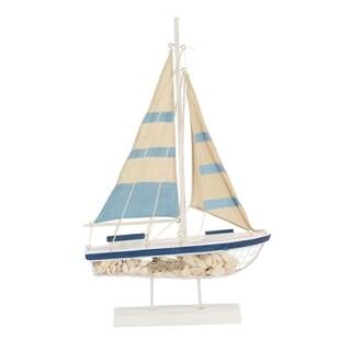 Coastal Blue and White Wooden Sailboat Decor
