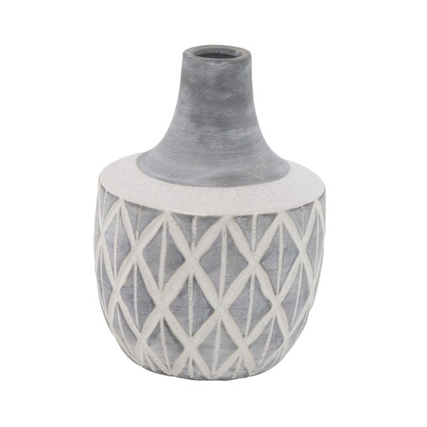 Traditional Ceramic Stout and Spouted Crisscross Vase
