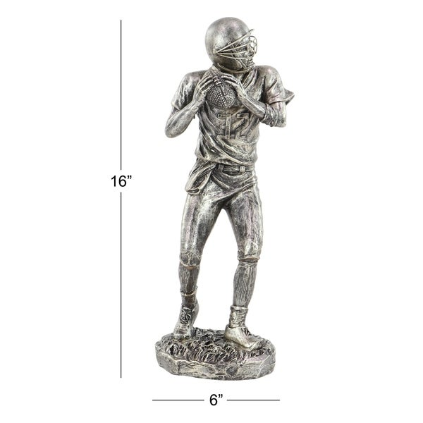 Copper Grove Chatfield Modern Polystone Silver Football Player Sculpture