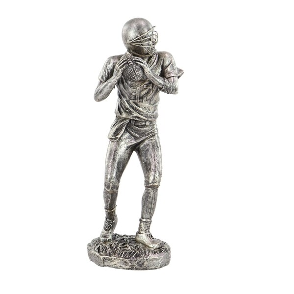Copper Grove Chatfield Modern Polystone Silver Football Player Sculpture. Opens flyout.
