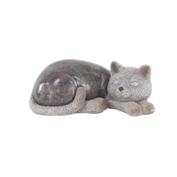 Havenside Home Lewisetta Modern Polystone Resting Cat Sculpture