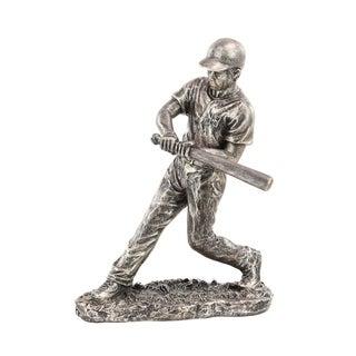 Copper Grove Chatfield Modern Polystone Silver Baseball Player Sculpture