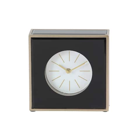 Strick & Bolton John Modern Wood and Glass Square Black Table Clock