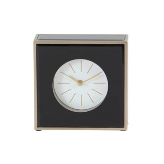 Modern Wood and Glass Square Black Table Clock
