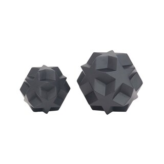 Set of 2 Modern Polystone Carved Star Orb Sculptures