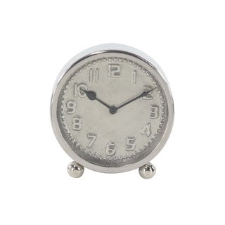 Silver Orchid Jehanne 7-inch Modern Round Silver Stainless Steel Table Clock