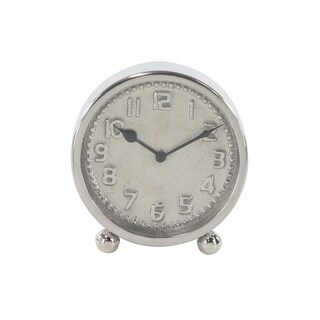 7 inch Modern Round Silver Stainless Steel Table Clock