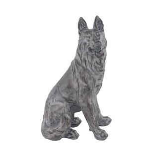 Traditional Sitting German Shepherd Dog Resin Sculpture
